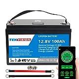 Tekvision Lithium LiFePO4 Akku 12V 100AH Lithium Versorgung Batterie mit Bluetooh BMS LCD für...