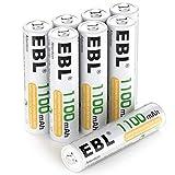 EBL AAA Akku 1100mAh 8 Stück - wiederaufladbare Batterien AAA, Typ NI-MH Batterien, geringe...